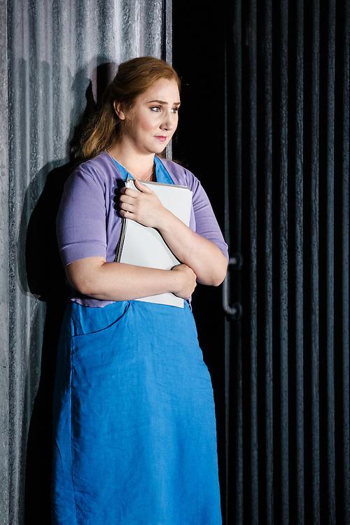 "LONDON, UK, 21 June, 2016. Laura Wilde (as Jenufa) rehearses for the revival of director David Alden's production of Janacek's opera ""Jenufa"" at the London Coliseum for the English National Opera. The production opens on 23 June. Photo credit: Scott Rylander."