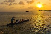 A dugout canoe at sunset, Kuna Indian village on Corbisky Island, San Blas Islands (Kuna Yala), Caribbean Sea, Panama