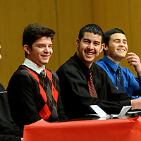 020514  Adron Gardner/Independent<br /> <br /> Grants Pirates Jacob Wilcox, left, Brandon Brito, Raul Enriquez and Tristan Bustos enjoy a laugh together on stage at the Grants Performing Arts Center in Grants Wednesday.