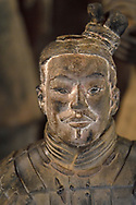 """Portrait of a male statue of the """"Terracotta Army"""" in Xian, Shaanxi, China"""