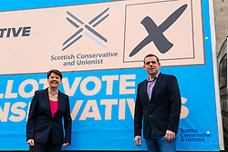 Edinburgh, Scotland, UK. 3  May 2021.  The Scottish Conservative party launch new campaign billboard ad van in Edinburgh today. Scottish Conservatives Leader Douglas Ross and former leader Ruth Davidson launched the ad van with a message urging voters to vote Scottish Conservatives on the list or peach ballot paper. Pic; Douglas Ross and Ruth Davidson. Iain Masterton/Alamy Live News