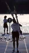 Barcelona, SPAIN. General Views round the boating area, USA athlete carry oars blades 1992 Olympic Rowing Regatta Lake Banyoles, Catalonia [Mandatory Credit Peter Spurrier/ Intersport Images]