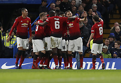 BRITAIN-LONDON-FOOTBALL-FA CUP-CHELSEA VS MAN UNITED.(190218) -- LONDON, Feb. 18, 2019  Manchester United's players celebrate their first goal during the FA Cup fifth round match between Chelsea and Manchester United in London, Britain on Feb. 18, 2019. Manchester United won 2-0. FOR EDITORIAL USE ONLY. NOT FOR SALE FOR MARKETING OR ADVERTISING CAMPAIGNS. NO USE WITH UNAUTHORIZED AUDIO, VIDEO, DATA, FIXTURE LISTS, CLUB/LEAGUE LOGOS OR ''LIVE'' SERVICES. ONLINE IN-MATCH USE LIMITED TO 45 IMAGES, NO VIDEO EMULATION. NO USE IN BETTING, GAMES OR SINGLE CLUB/LEAGUE/PLAYER PUBLICATIONS. (Credit Image: © Xinhua via ZUMA Wire)