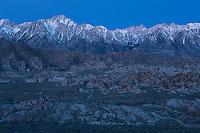 Dawn light over Sierra Nevada mountains and Alabama Hills, California, USA