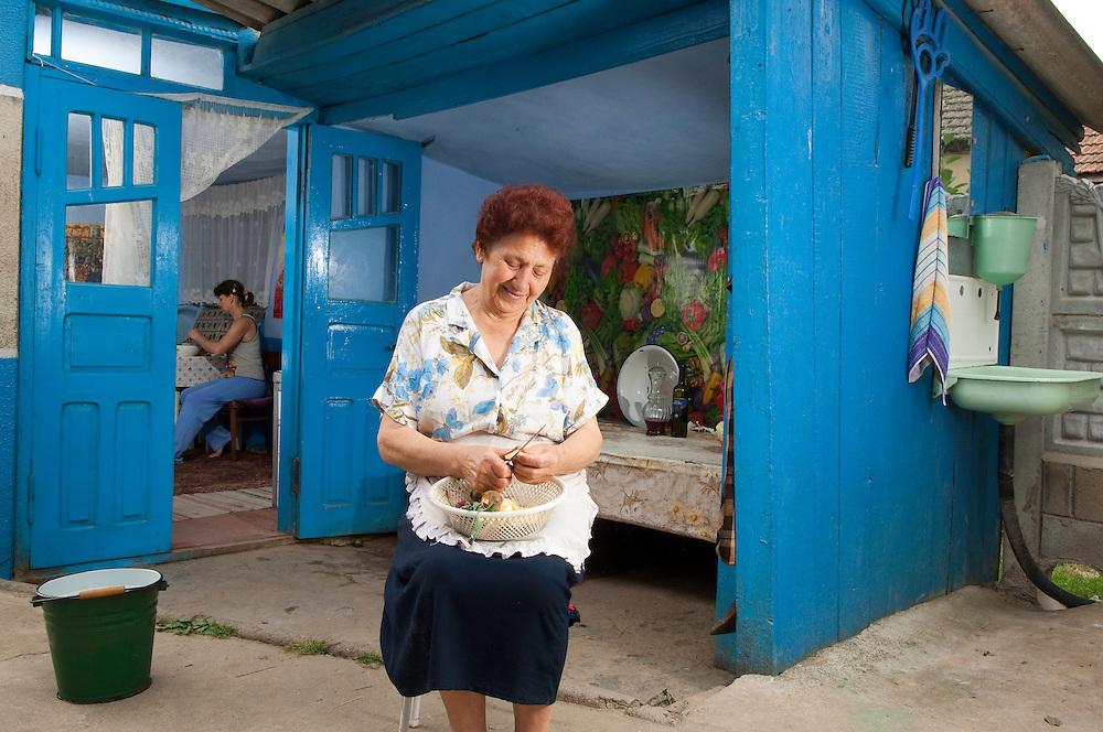 Portrait of local woman peeling potatoes the village Slobozia Mare near lake Belau, South West of Moldova