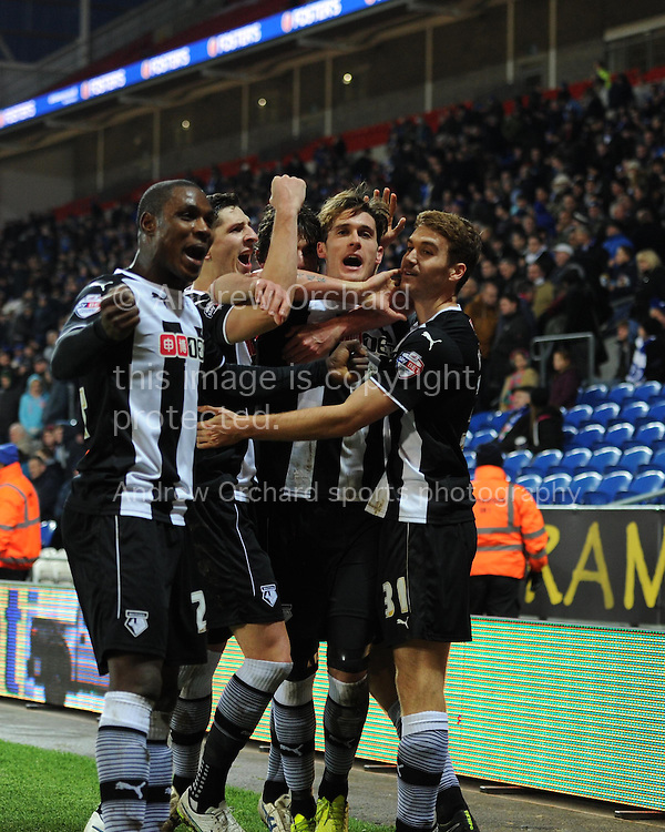 Watford's Gabriele Angella (2nd right) celebrates with teammates after he scores his teams 4th goal to make it 1-4.  Skybet football league championship match, Cardiff city v Watford at the Cardiff city stadium in Cardiff, South Wales on Sunday 28th December 2014<br /> pic by Andrew Orchard, Andrew Orchard sports photography.