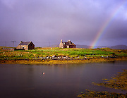 Farmhouse and Rainbow on South Uist