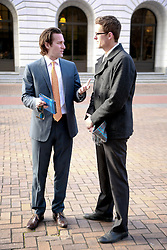 31 January 2014. New Orleans, Louisiana. <br /> WDSU TV's Fletcher Mackel does a piece to camera outside the trial of Ray Nagin, former mayor of New Orleans outside the Federal Courthouse. Nagin is charged with 21counts of corruption including  bribery, conspiracy, money laundering and wire fraud. <br /> Photo; Charlie Varley