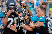 during the second half/overtime of an NFL football game, Sunday, Nov. 12, 2017, in Jacksonville, Fla. The Jaguars beat the Chargers 20-17. (AP Photo/Stephen B. Morton)