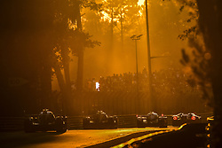 June 17, 2017 - Le Mans, France - Prototype race cars in the evening glow during the 24 Hours of Le Mans endurance race, at Circuit de la Sarthe. (Credit Image: © Panoramic via ZUMA Press)