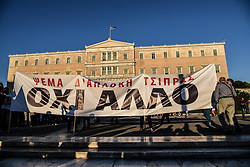 """June 20, 2017 - Athens, attica, Greece - Greeks attending an anti government rally organized by the mostly conservative """"Resign"""" movement at Syntagma Square, central Athens on June 20, 2017  (Credit Image: © Wassilios Aswestopoulos/NurPhoto via ZUMA Press)"""