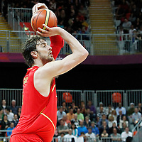 31 July 2012: Spain Pau Gasol takes a three points jumpshot during the first half of Spain vs Australia, during the men's basketball preliminary, at the Basketball Arena, in London, Great Britain.
