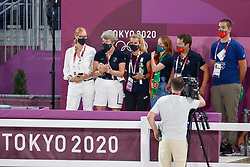 TOKYO - Olympische Spiele / Olympic Games 2021<br /> <br /> Kiss and Cry, Team Purtugal<br /> KYRKLUND Kyra (National Coach)<br /> Grand Prix de Dressage<br /> <br /> Tokio, Equestrian Park<br /> 25. July 2021<br /> © www.sportfotos-lafrentz.de/Stefan Lafrentz