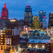 Completed Loews Hotel at Kansas City (Missouri) Convention Center, early 2020 with KCMO skyline at dusk.