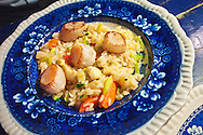 Seared scallops and vegetable risotto