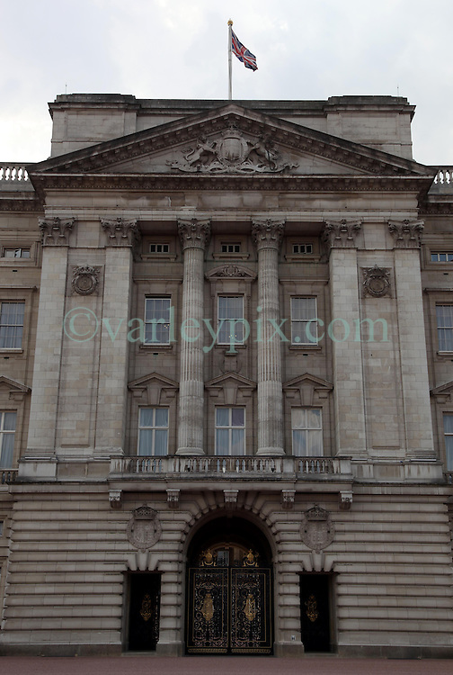21 April 2011. London, England..Buckingham Palace in the run up to Catherine Middleton's marriage to Prince William. The Royal balcony where the newlyweds will wave to the public..Photo; Charlie Varley.