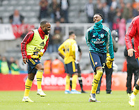 Football - 2019 / 2020 Premier League - Newcastle United vs. Arsenal<br /> <br /> Alexandre Lacazette of Arsenal and Joe Willock of Arsenal at full time, at St James' Park.<br /> <br /> COLORSPORT/BRUCE WHITE