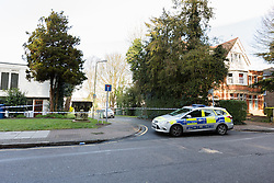 © Licensed to London News Pictures. 30/03/2016. London, UK. The rear of the police cordon in Green Bank, behind the junction of Woodside Grange Road and Grange Way in North Finchley, Barnet, north London this morning. A young man died after being stabbed at the scene and collapsing yesterday afternoon.  Photo credit : Vickie Flores/LNP
