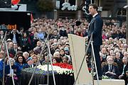 Op de Dam in Amsterdam is met twee minuten stilte om klokslag 20.00 uur de oorlogsslachtoffers herdacht die sinds het begin van de Tweede Wereldoorlog zijn omgekomen.<br /> <br /> On the Dam in Amsterdam are war victims remembered who died since the beginning of World War II  with two minutes of silence at the stroke of 20:00 <br /> <br /> OP de foto / On the photo:  minister President Mark Rutte houd een toespraak / <br /> Minister President Mark Rutte a speech