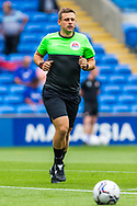 Today's referee Joshua Smith during the pre-match warm-up before  the EFL Sky Bet Championship match between Cardiff City and Bournemouth at the Cardiff City Stadium, Cardiff, Wales on 18 September 2021.