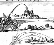 Method of laying an artillery piece on target using Gunner's scale.  Paths of trajectories and various ammunition shown. 18th century engraving.