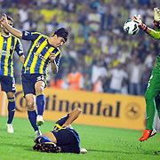 Fenerbahce's players during an attack their Turkish Super Cup 2012 soccer derby match Galatasaray between Fenerbahce at the Kazim Karabekir stadium in Erzurum Turkey on Sunday, 12 August 2012. Photo by TURKPIX
