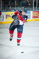 KELOWNA, CANADA - MARCH 28: Parker Wotherspoon #37 of Tri-City Americans takes a shot during warm up against the Kelowna Rockets on March 28, 2015 at Prospera Place in Kelowna, British Columbia, Canada.  (Photo by Marissa Baecker/Getty Images)  *** Local Caption *** Parker Wotherspoon;