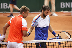 May 21, 2019 - Paris, France - Enzo Couacaud and Paolo Lorenzi during the match between Paolo Lorenzi of ITA vs Enzo Couacaud of FRA in the first round qualifications of 2019 Roland Garros, in Paris, France, on May 21, 2019. (Credit Image: © Ibrahim Ezzat/NurPhoto via ZUMA Press)