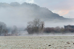 © Licensed to London News Pictures. 22/01/2021. Builth Wells, Powys, Wales, UK. A frosty view near the river Wye at Builth Wells in Powys UK this morning after temperatures plunged to below zero deg C last night. Photo credit: Graham M. Lawrence/LNP