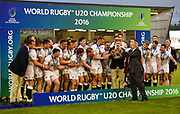 Bill Beaumont hands the trophy to England fly-half Harry Mallinder during the presentation ceremony of the World Rugby U20 Championship Final   match England U20 -V- Ireland U20 at The AJ Bell Stadium, Salford, Greater Manchester, England onSaturday, June 25, 2016. (Steve Flynn/Image of Sport)