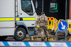 © Licensed to London News Pictures. 07/02/2019. Batley UK. Army Bomb disposal from the Royal Logistic Corps arrive at the scene of a suspected gas explosion in Batley. At least five people have been hurt in a suspected gas explosion at a two storey building which is a block of converted flats on Hick Lane in Batley, Yorkshire  Photo credit: Andrew McCaren/LNP