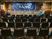 02 FEBRUARY 2020 - BOONE, IOWA: A man waits for an Andrew Yang campaign event to start. Yang, an entrepreneur, is running for the Democratic nomination for the US Presidency in 2020. He is in central Iowa finishing his 17 day bus tour across the state. Iowa hosts the the first election event of the presidential election cycle. The Iowa Caucuses will be on Feb. 3, 2020.      PHOTO BY JACK KURTZ