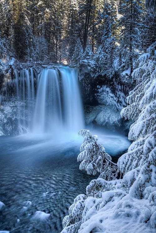 Koosah Falls shows it's winter wonder