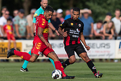 (L-R) Bruno Fernandes Andrade  de Brito of Go Ahead Eagles, Anouar Hadouir of Excelsior during the Friendly match between Go Ahead Eagles and Excelsior Rotterdam at sportcomplex SV Terwolde on July 20, 2018 in Terwolde, The Netherlands