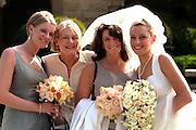 Sisters wedding party with bride bridesmaids and mom.  Palo Alto California USA