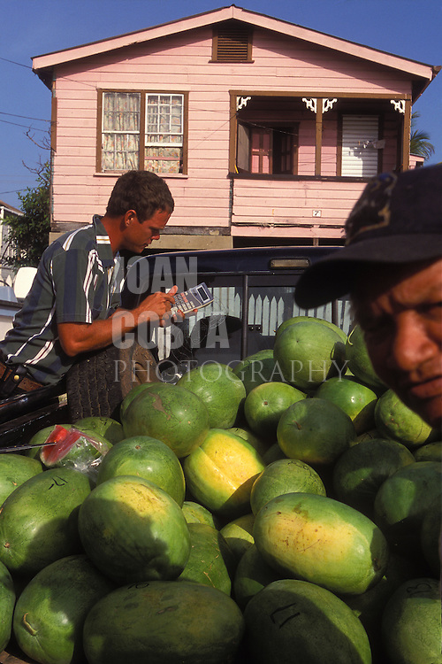 BELIZE / Belize City / Watermelons stand at the food market...© JOAN COSTA