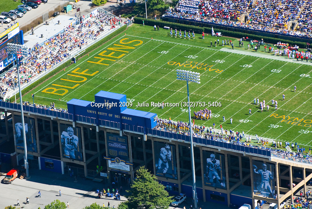 Aerial view of  the Delaware Stadium, home of the Blue hens Football,  during game with Delaware State University Hornets