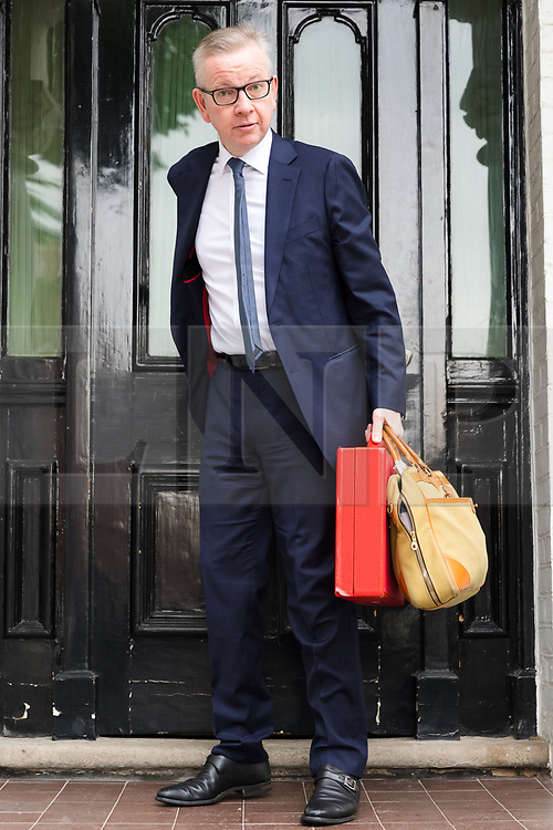 © Licensed to London News Pictures. 13/06/2019. London, UK. Secretary of State for Environment, Food and Rural Affairs and Tory leadership candidate, MICHAEL GOVE MP, leaves his London home this morning. Later today the first Tory leadership ballot will take place. Photo credit: Vickie Flores/LNP