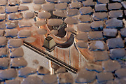 Street Lamp reflected in a puddle of water on a cobbled street, Rome, Italy