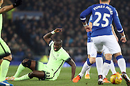 Yaya Toure of Manchester City reacts as he appeals for a free kick. Capital one cup semi final 1st leg match, Everton v Manchester city at Goodison Park in Liverpool on Wednesday 6th January 2016.<br /> pic by Chris Stading, Andrew Orchard sports photography.