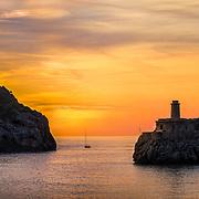 The three lighthouses in Sa Creu bay, Palma de Mayorca.