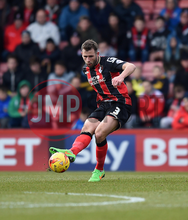 Bournemouth's Steve Cook in action during the Sky Bet Championship match between AFC Bournemouth and Huddersfield Town at Goldsands Stadium on 14 February 2015 in Bournemouth, England - Photo mandatory by-line: Paul Knight/JMP - Mobile: 07966 386802 - 14/02/2015 - SPORT - Football - Bournemouth - Goldsands Stadium - AFC Bournemouth v Huddersfield Town - Sky Bet Championship