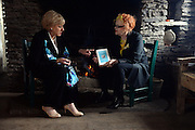 26-7-2015: Minister for Arts, Heritage and the Gaeltacht Heather Humphreys with Noelle Campbell-Sharpe during their visit to writer Sean O'Connaill's house at the Cill Rialaigh Famine Village in South Kerry on Sunday. Minister Humphreys also visited Ballinskelligs overlooking the Skellig Rocks where filming of the next episode of Star Wars is expected to begin this September.<br /> Picture by Don MacMonagle