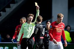 (L-R) referee Martin van den Kerkhof, Mike te Wierik of FC Groningen during the Dutch Eredivisie match between AZ Alkmaar and FC Groningen at AFAS stadium on March 18, 2018 in Alkmaar, The Netherlands