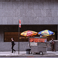 A hotdog vendor on Madison Avenue in front of the Whitney Museum at 75th street, New York City