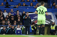 Manuel Pellegrini , manager of Manchester City talks to Martin Demichelis of Manchester City from the touchline.The Emirates FA Cup, 5th round match, Chelsea v Manchester city at Stamford Bridge in London on Sunday 21st Feb 2016.<br /> pic by John Patrick Fletcher, Andrew Orchard sports photography.