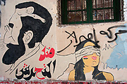 Egypt, Cairo 2014. Mohammed Mansour Street. Revolutionary graffiti - trompe d'oeil of man's face and naked woman..and the man's hand covers another woman's eyes - the arabic says 'Against sexual harrassment'.