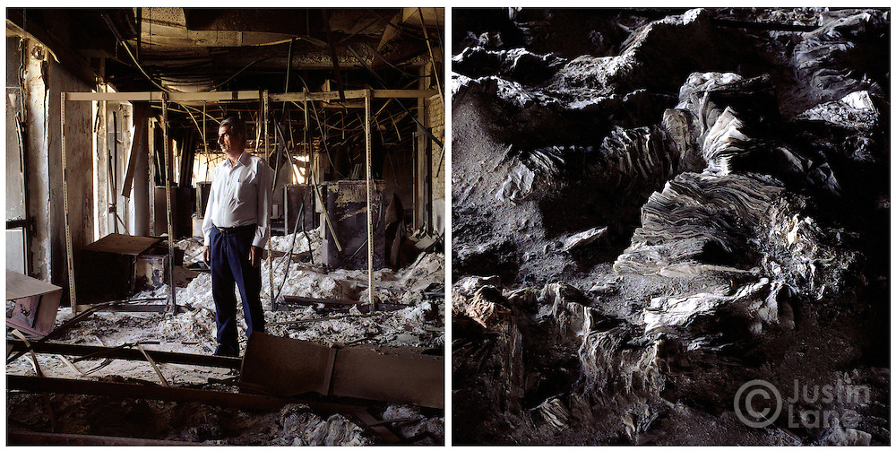 At left, the Director of Iraq's National Library and Archives stands in the remains of the main library hall. At right, burned books on the library floor.