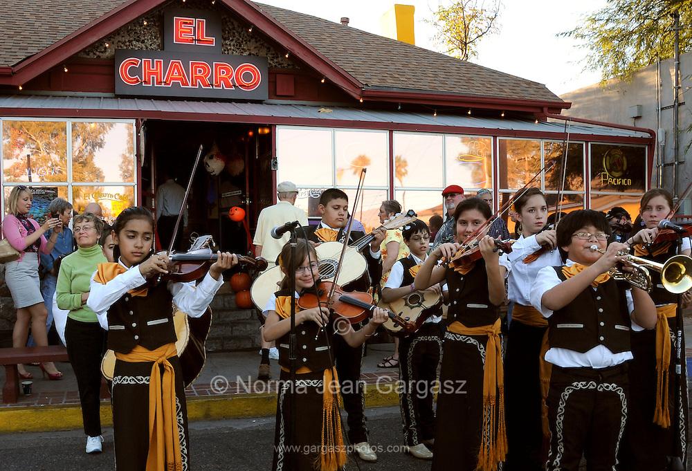 Mariachi Corazon de Tucson perform at El Charro Cafe in downtown Tucson, Arizona, USA.