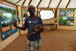 """Jerenimo from Save the Elephants presents a tracking device shot by poachers after they killed an elephant, at STE camp in Samburu National Reserve, Kenya, March 1, 2016. In northern Kenya's Samburu region, there lives the second largest group of elephant species in this country. Around them, a number of elephant defenders have watched them day and night for the past 18 years. Founded in 1993, the organization Save The Elephants (STE) has been devoting its attention to secure the future of elephants and battle the ivory poaching. The World Wildlife Day is observed on March 3 with """"The future of wildlife is in our hands"""" being the theme and """"The future of elephants is in our hands"""" being the subtopic this year. EXPA Pictures © 2016, PhotoCredit: EXPA/ Photoshot/ Sun Ruibo<br /><br />*****ATTENTION - for AUT, SLO, CRO, SRB, BIH, MAZ only*****"""